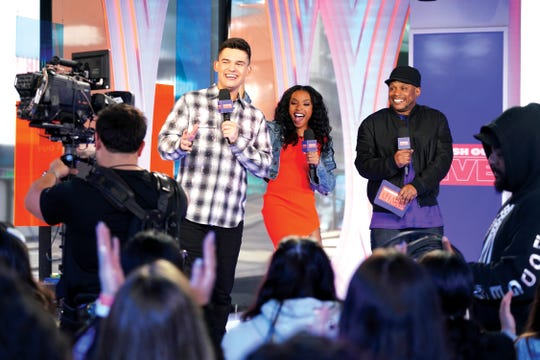 Kevan Kenney, Jamila Mustafa and Sway appear onstage during Justin Bieber storms MTVs Fresh Out Live and makes a superfans dreams come true on February 07, 2020 in New York City.