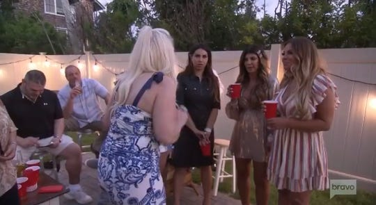 """Margaret Joseph's, Jenniger Aydin, Teresa Giudice and  Dolores Catania from the Season 10 finale of """"The Real Housewives of New Jersey,"""" broadcast Feb. 26, 2020."""