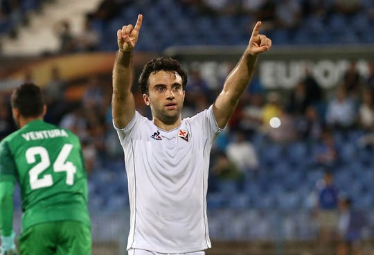 In this Oct. 1, 2015, file photo, Fiorentina's Giuseppe Rossi celebrates after scoring his side's fourth goal during a Europa League group I soccer match against Belenenses at the Restelo stadium in Lisbon.