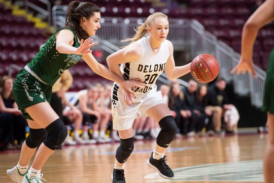 Delone Catholic's Brooke Lawyer dribbles down court in the first quarter of the District 3 Class 3A championship game against Trinity at the Giant Center in Hershey on Thursday, Feb. 27, 2020. The Squirettes won, 44-22.