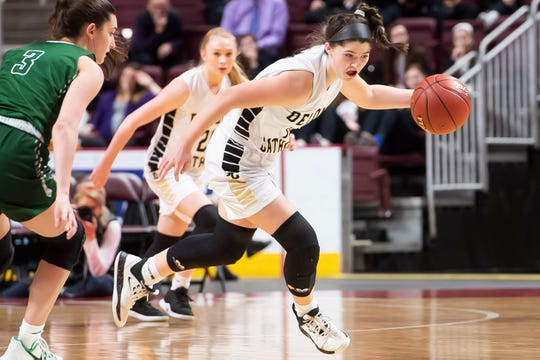 Delone Catholic's Giana Hoddinott dribbles down court during the District 3 Class 3A championship game against Trinity at the Giant Center in Hershey on Thursday, Feb. 27, 2020. The Squirettes won, 44-22.