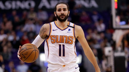 Phoenix Suns guard Ricky Rubio (11) against the Los Angeles Clippers during the second half of an NBA basketball game, Wednesday, Feb. 26, 2020, in Phoenix. (AP Photo/Matt York)