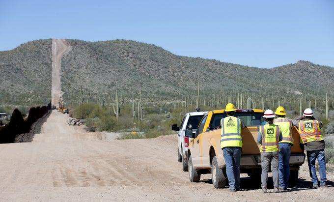 Tucson Sector Border Patrol, the Army Corps of Engineers and contracted border wall personnel detonate part of Monument Hill for the construction of the border wall in Arizona on Feb. 26, 2020.