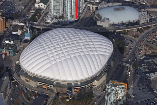 An aerial view of B.C. Place in Vancouver.