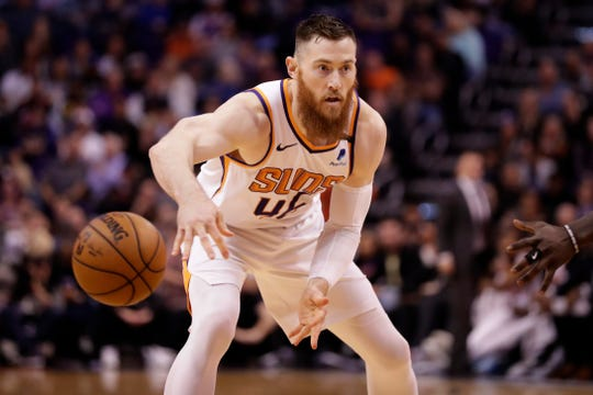 Phoenix Suns center Aron Baynes (46) against the Los Angeles Clippers during the second half of an NBA basketball game, Wednesday, Feb. 26, 2020, in Phoenix. (AP Photo/Matt York)
