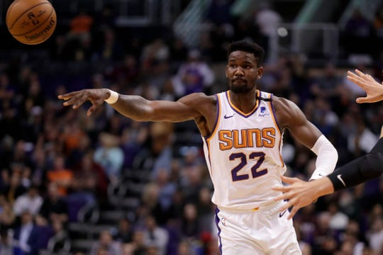 Phoenix Suns center Deandre Ayton (22) against the Los Angeles Clippers during the second half of an NBA basketball game, Wednesday, Feb. 26, 2020, in Phoenix. (AP Photo/Matt York)
