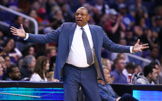 LA Clippers head coach Doc Rivers reacts during action against the Phoenix Suns in the first half at Talking Stick Resort Arena on Feb. 26, 2020 in Phoenix, Ariz.