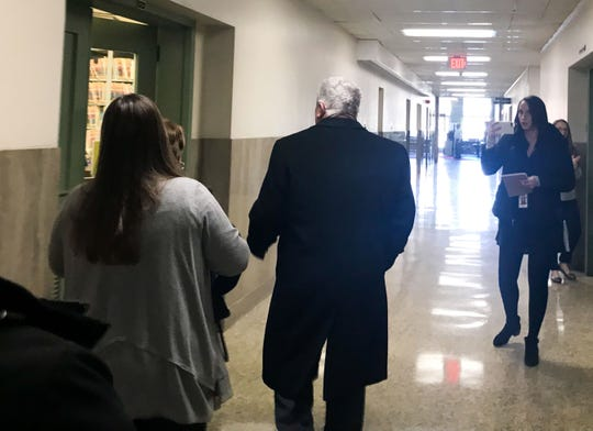 Folmer makes his way to the plea hearing in the York County Courthouse, February 27, 2020.