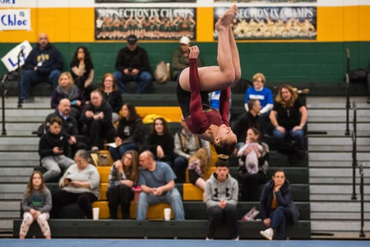 New Paltz's Ady Laurie competes on the floor during the Section 9 gymnastics championships at FDR High School in Hyde Park, NY on Wednesday, February 19th, 2020. KELLY MARSH/FOR THE TIMES HERALD-RECORD