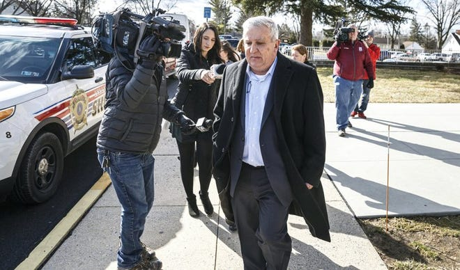 Former state Sen. Mike Folmer leaves the Lebanon County Courthouse on Thursday, Feb. 27, 2020. Folmer pleaded guilty to possessing child pornography. Sentencing has been set for late May. (Dan Gleiter/The Patriot-News via AP)