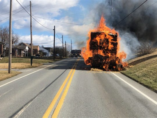 Police and firefighters have responded to a tractor-trailer on fire Thursday on East Prospect Road (Route 124) in Windsor Township.