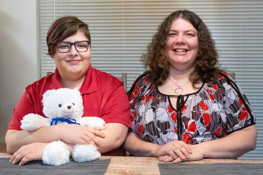 Jennifer Fink (right) and Alex Kepner (left) are all smiles after learning Alex has secured a kidney donor, February 26, 2020.
