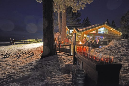 The final Snowshoe Cocktail Race of 2020 runs March 21 on the beach outside Beacon Bar & Grill, shown here, at Camp Richardson Resort in South Lake Tahoe.