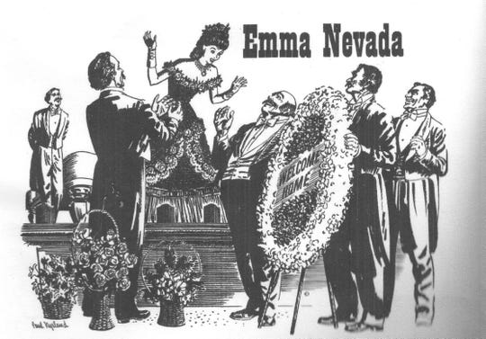 An artist's rendering of Emma Nevada.