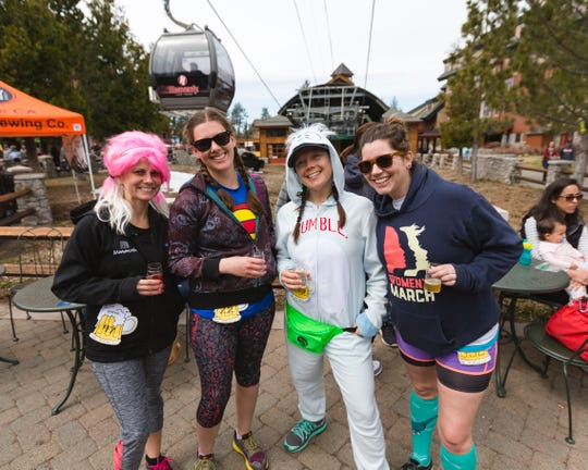 Runners at the 2019 Brewfest & 5K Run at the Heavenly  Ski Resort Village in South Lake Tahoe. The 2020 run and festival takes place April 4 at the Village and features more than 30 beer, kombucha and soda pours.