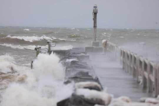 Waves on Lake Ontario at the pier in Webster Park as a winter storm blows through Feb. 27, 2020.