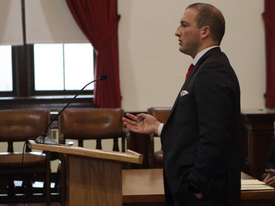Nicholas Passalacqua argues on behalf of his client Michael DeShane on Wednesday, Feb. 26, 2020 in Oneida County Supreme Court in Rome. An order to seize DeShane's firearms was continued for another year in a court ruling.