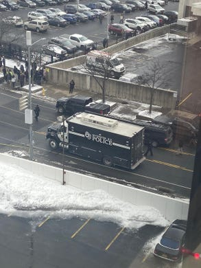 The Rochester Police Department bomb squad on scene near the Rochester federal building Thursday.