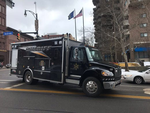 Monroe County Sheriff's Office's bomb squad arrived on scene to investigate at the federal building in Rochester on Feb., 27, 2020.