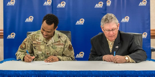 Maj. Michael Quinn, commander of the 17th Contracting Squadron at Goodfellow AFB, and Dr. Don Topliff, ASU provost and vice president for academic affairs, signed a new transfer agreement on Feb. 6, 2020.