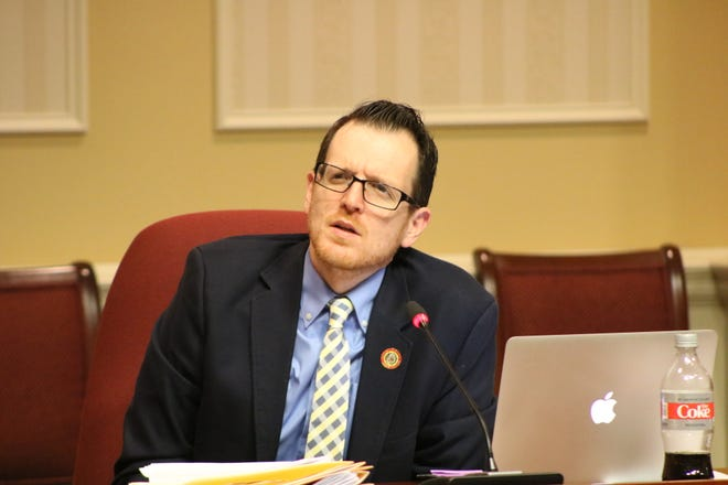 Maryland State Senator Justin Ready of Carroll County listens to testimony during a Senate Judicial Proceedings Committee hearing on Feb. 26, 2020 in Annapolis.