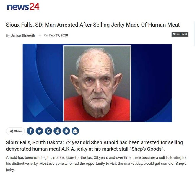 A screengrab from the website that purports to indicate a man was arrested for selling jerky made of human meat.