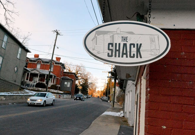 A sign hanging out front  marks the location of The Shack located on South Coalter Street in Staunton.