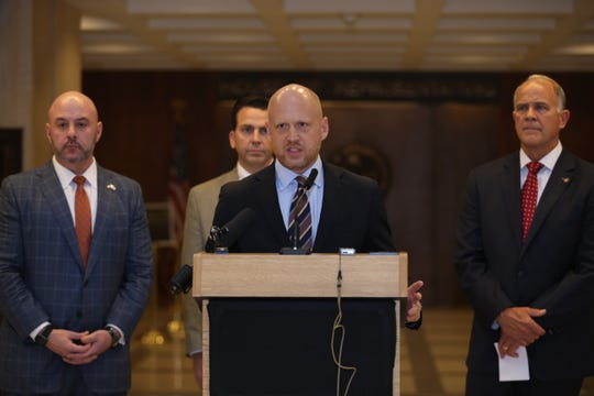 Florida Department of Environmental Protection Secretary Noah Valenstein speaks during a press conference held to highlight environmental issues being taken up this legislative session with SB 712/HB 1363 in the fourth floor Capitol rotunda Thursday, Feb. 27, 2020.