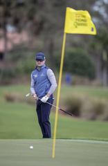 Zach Johnson watches an approach shot during the first round of the Honda Classic at PGA National in Palm Beach Gardens, Feb. 27, 2020.