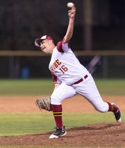 Tulare Union's Ivan Jimenez pitches against Mt. Whitney in a non-league high school baseball game on Tuesday, February 25, 2020.