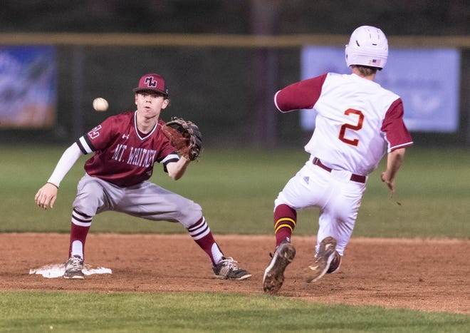 Mt. Whitney's Zach Mell outs Tulare Union's Jon Rising in a non-league high school baseball game on Tuesday, February 25, 2020.