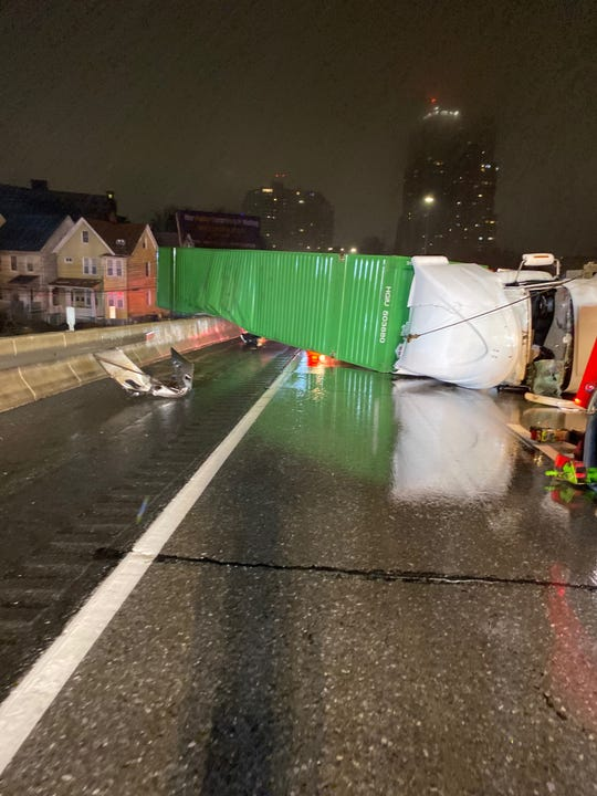 A tractor trailer flipped over around 1 a.m. on Feb. 27, 2020, on I-95 in New Rochelle.