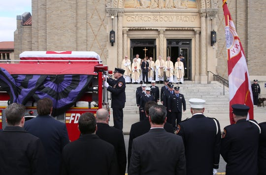 Firefighters from throughout the area crowd the street outside Holy Family Church in New Rochelle for the funeral of FDNY firefighter Danny Foley Feb. 27, 2020. Foley, who joined the FDNY in 1998 and served in Rescue Co. 3 in the Bronx, died on Saturday, Feb. 22, 2020, at the age of 46 after suffering from 9/11-related pancreatic cancer