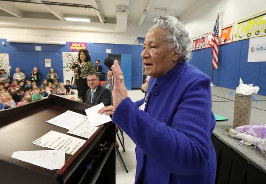 Dr. Arlene Clinkscale talks to students at Lincoln Elementary School in Pearl River, where she started her teaching career Feb. 27, 2020. Clinkscale, now 90, was the first black teacher in the Pearl River district, hired in 1960.