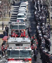 Firefighters from through out the area crowd the street outside Holy Family Church in New Rochelle for the funeral of FDNY firefighter Danny Foley Feb. 27, 2020. Foley, who joined the FDNY in 1998 and served in Rescue Co. 3 in the Bronx, died on Saturday at the age of 46 after suffering from 9/11-related pancreatic cancer