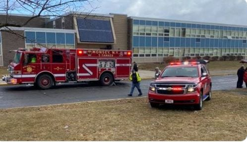 Emergency responders at Ramapo High School after several students were exposed to pepper spray, Thursday, Feb. 27, 2020.
