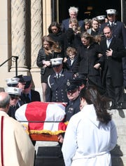 FDNY firefighter Danny Foley's family follows his flag draped coffin out of Holy Family Church in New Rochelle following his funeral Feb. 27, 2020. Foley, who joined the FDNY in 1998 and served in Rescue Co. 3 in the Bronx, died on Saturday at the age of 46 after suffering from 9/11-related pancreatic cancer