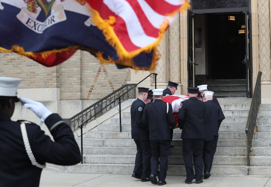 FDNY firefighter Daniel Foley's casket is carried into Holy Family Church in New Rochelle for his funeral, Feb. 27, 2020. Foley, who joined the FDNY in 1998 and served in Rescue Co. 3 in the Bronx, died on Saturday, Feb. 22, 2020, at the age of 46 after suffering from 9/11-related pancreatic cancer