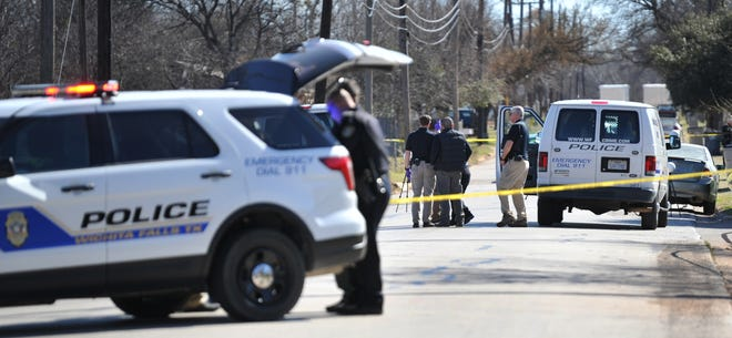 Wichita Falls police investigate the scene of a deceased person found inside of a vehicle parked in the 1200 of Kenley Avenue, Thursday afternoon.