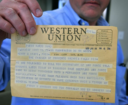Numerous artifacts from the history of the Wichita Falls Chamber of Commerce have turned up during their move to new offices including this telegram from January 1950 confirming Sheppard Air Force Base would become a permanent military installation for the city.