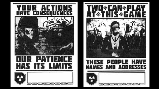 Samples of posters created by Atomwaffen hate group members which were sent to journalists and activists in an attempt to threaten or scare them. Four of the group's members were arrested this week for the conspiracy including one from Texas.