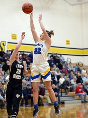 Maysville's Macie Jarrett shoots a jumper during the second quarter of the Panthers' 48-35 win against River View in a Divsion II district semifinal on Wednesday at Tri-Valley.