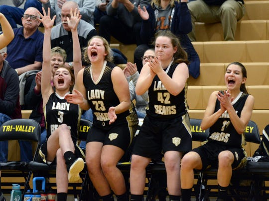 River View's bench celebrates Emma Anderson's basket to start the fourth quarter against Maysville in a Division II district semifinal on Wednesday night at Tri-Valley. Maysville won, 48-35.