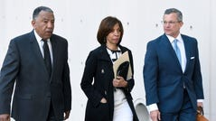 Former Baltimore mayor Catherine Pugh, center, and her attorney Steven Silverman, right, arrive for a sentencing hearing at U.S. District Court in Baltimore on Thursday, Feb. 27, 2020. Pugh pleaded guilty in 2019 to federal conspiracy and tax evasion charges.