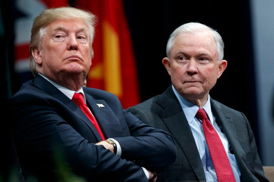 President Donald Trump with then-Attorney General Jeff Sessions during the FBI National Academy graduation ceremony in Quantico, Va., in December 2017.