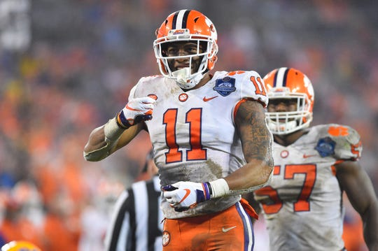 Clemson Tigers safety Isaiah Simmons (11) reacts in the fourth quarter at Bank of America Stadium.