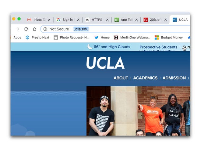 UCLA has a non-secure website that doesn't use the HTTPS protocol