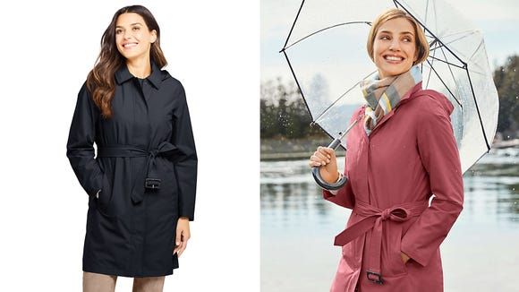 Spring showers bring stylish raincoats.