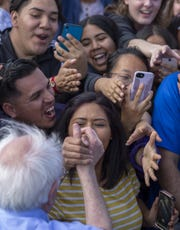Democratic presidential candidate Sen. Bernie Sanders greets supports at his Get Out the Early Vote rally at Valley High School on February 21, 2020 in Santa Ana, California.