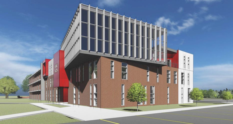 This artist rendering shows Rider University's project to enlarge the Fine Arts Building on its Lawrenceville campus.